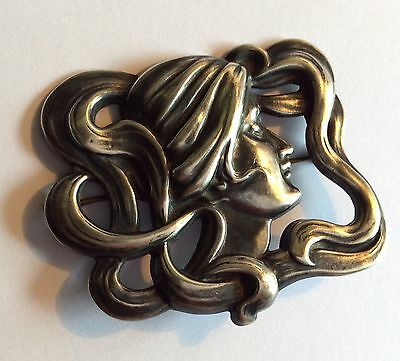 Large antique American sterling silver Art Nouveau brooch w woman's profile