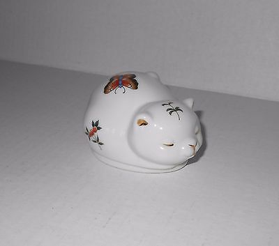Vintage Takahashi Kitty Cat Trinket Porcelain Butterfly Gold Accent Kitten