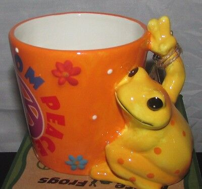 "Peace Frogs ""Freedom* Peace* Love"" with Frog Handle Ceramic Mug/Cup  Westland"