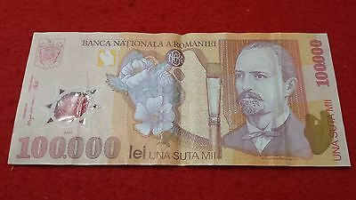 Ticket Romania 100000 Lei 2001 014D0960891 Bank Note