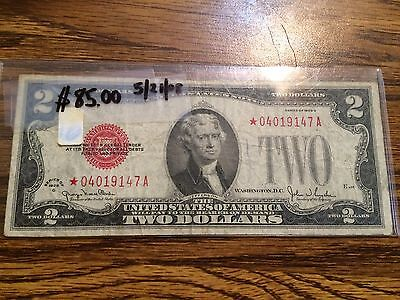 1928 G Star $2 Red Seal Note Rare Two Dollar