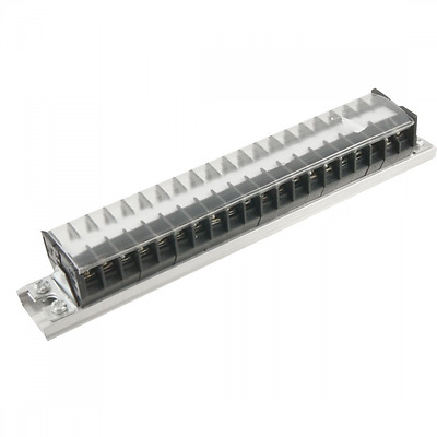 660V 15A DIN Rail Base 20 Position Covered Screw Terminal Strip Block