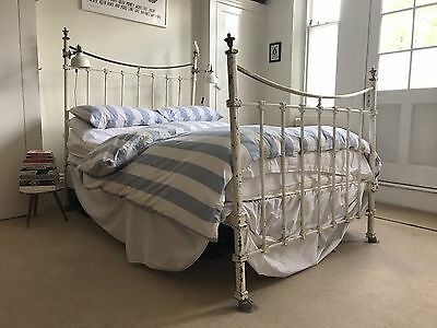 Original Victorian White Cast Iron And Brass Double Bed