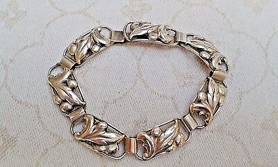 Swedish 1949 leaf design link style silver bracelet
