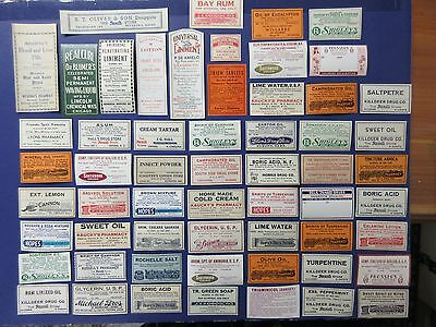 58+Old Pharmacy-Apothecary-Medicine Bottle Labels=Vintage Ephemera=
