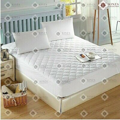 Quilted Mattress Protectors Topper Fitted Pillow Cover,Bunk,Cot Bed All Sizes