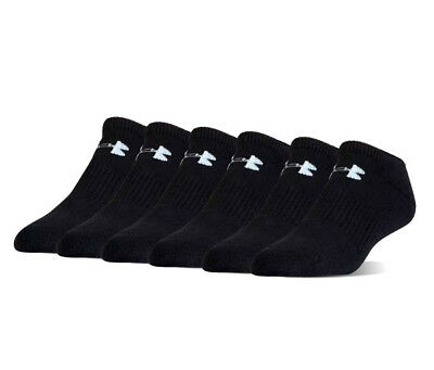 Under Armour UA Charged Cotton® 6-pack No Show Men's Athletic Black Socks