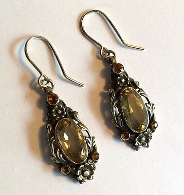 Pair of antique silver Arts & Crafts pierced earrings w citrines & glass stones
