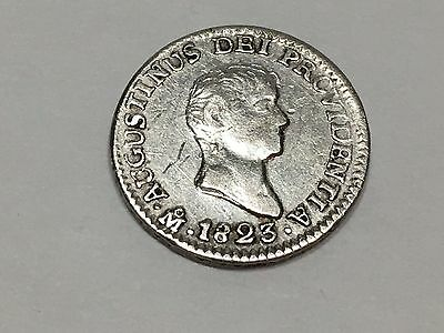 Mexico Coin 1/2 Real 1823 Mo JM Silver Empire Of Iturbide XF KM#301
