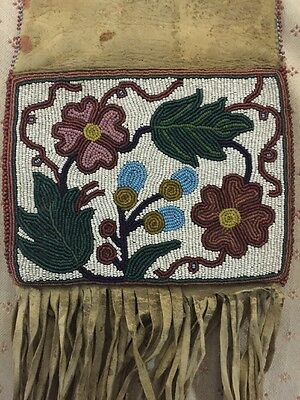 19th C. Cree Indian Native American Beaded Double Sided Hide Pipe Bag