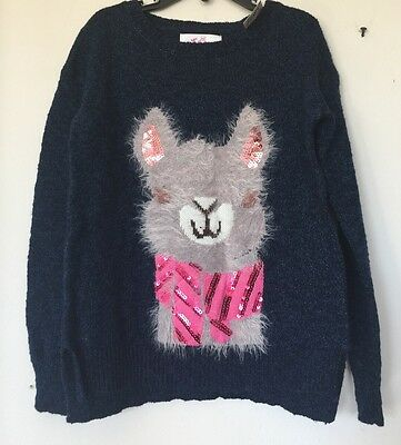 New Justice Girl's  Blue Sequins Lama Print Front Sweater Sz 7