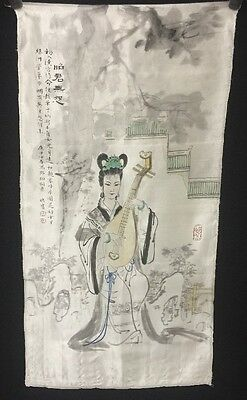 Chinese Painting Scroll With Inscription By Deng Fen 1894-1964