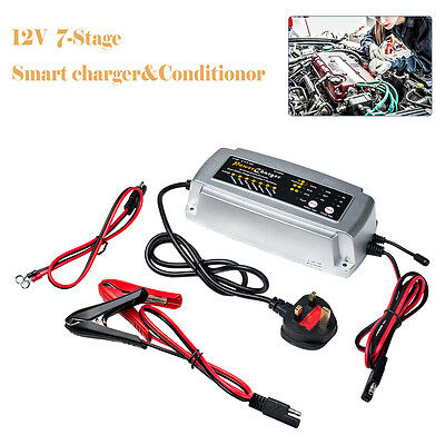 12V 7-Stage Smart Charger&Conditionor Car Van Boat Motorbike Battery Charger UK