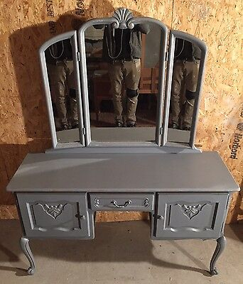 Vintage French Oak Dressing Table With Mirror