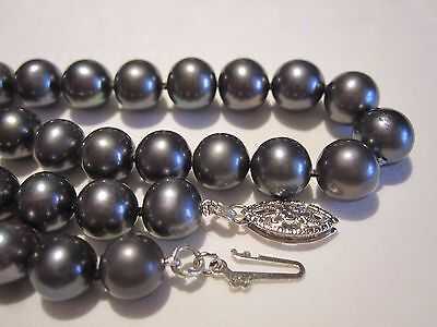 "VTG 14K GOLD CLASP AAA QUALITY GENUINE TAHITIAN 7.5 mm BLACK PEARL 19"" NECKLACE"