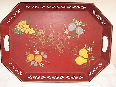 Large Hand Painted Vintage Tole Metal Serving Display Tray