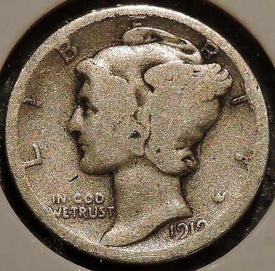 Silver Mercury Dime - 1919 - Early Dates! - $1 Unlimited Shipping