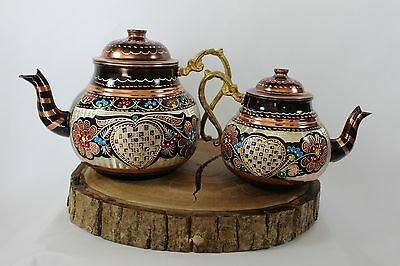 Turkish Traditional Handmade  Copper Tinned Teapot Set Semaver - Large 26Cm