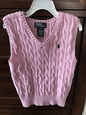 Polo Ralph Lauren Toddler Boy 3T Pink Cable Knit Pullover Vest With Logo
