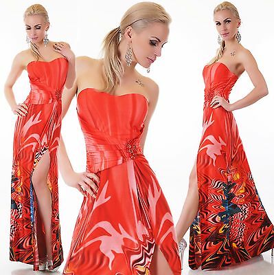 Women's Bandeau Summer maxi Dress Cocktail Party Dress Padded One Size UK 8/10
