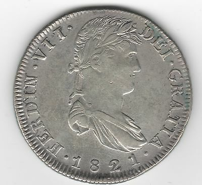1821 Spanish Ferdinand Vii 8 Reales Silver Coin Zacatecas Mint - Almost Unc
