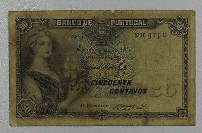 Portugal 1918 50 Centavos Bank Note {DO747A}