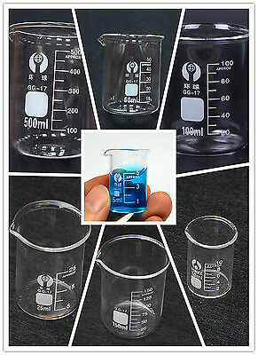 5ml-500ml Beaker Measuring Glass Beaker Chemistry Lab Borosilicate Glassware 1pc