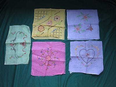 5 Vtg JBK Hand Embroidered Organdy Flowers & Butterfly Unfinished Pillow Covers