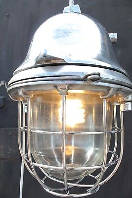 Large Vintage SHIP  German  solid Alu GIant  LANTERN lamp  Industrial Design