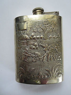 "VINTAGE 5.5"" SILVER PLATE FLASK WITH ELEPHANT/FARM MOTIF APROX. 4oz."