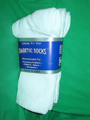 3 Pair *** Kid's*** Size 6-8  Solid WHITE Crew Diabetic Socks