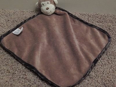 HTF NAT And & JULES Brown MONKEY Baby Lovey Plush Security Blanket Demdaco