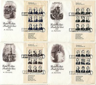 4 USA FDC Issue AMERIPEX '86 PRESIFENTS Miniature Sheets Stamps Postage Covers
