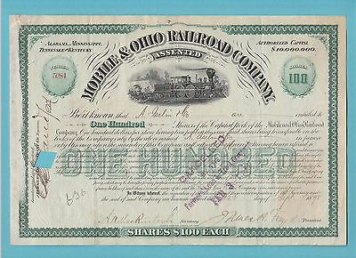 Mobile  &  Ohio  Railroad  Company  -  Share  Certificate  Of  1898