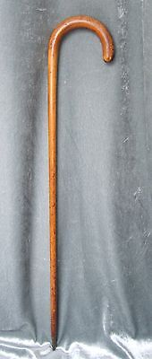 """Antique Cane-Style CURVED Handle SWAGGER STICK-Military?-Wood-BRASS Tip-21 3/4""""L"""