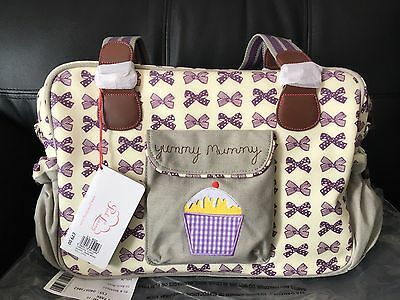 Pink Lining Yummy Mummy Changing Bag Purple Bow New With Tags