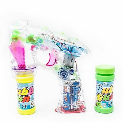 NEW Flashing Bubble Gun Light Up Blaster Squirt Blower Shooter Party Favor LED