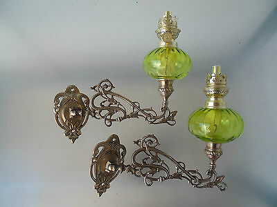 A Good Pair Of Green Crystal Glass Wall Sconce Oil Lamps.