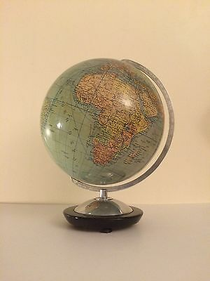 1940s Columbus World Globe - German Map Vintage Duo Erdglobus Bauhaus