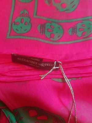 New Authentic ALEXANDER MCQUEEN Pink Teal Green SKULL silk Chiffon Scarf Shawl