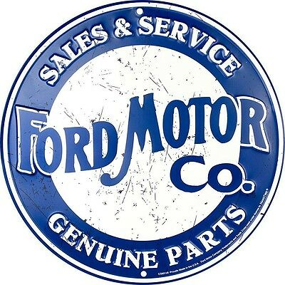 Ford Motor Company Sales And Service Embossed Metal Novelty Round Sign