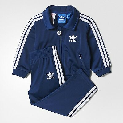 adidas originals Firebird infant 3 stripe blue polyester tracksuit. 2-3Y & 3-4Y