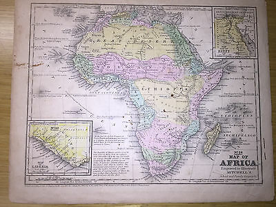 1852 Mitchell's School Atlas Map Of AFRICA, hand colored map