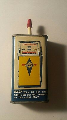 Sunoco vintage household oil tin can 4 ounce gas pump on the back