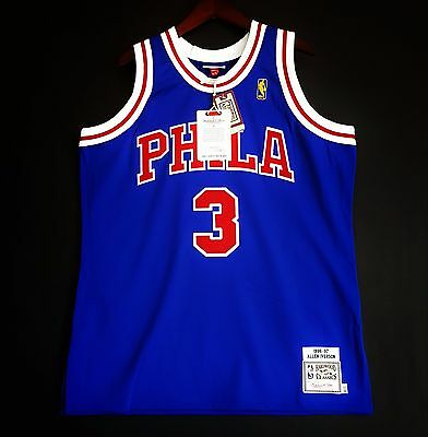 8d1b88f7a02 100% Authentic Mitchell & Ness Allen Iverson Sixers blue NBA Jersey Size 48  XL