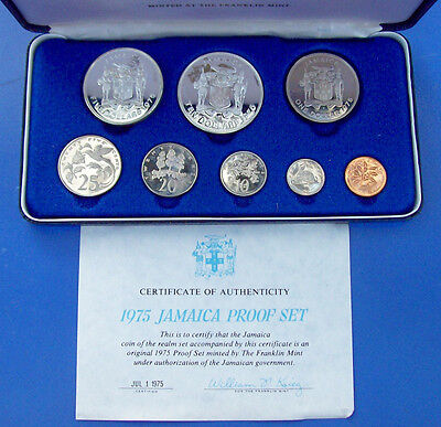 1975 Jamaica 8 Coin Proof Set With Coa & All Orignal Paper Work In Case & Sleeve