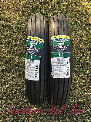 Two New 5.90-15 Advance Rib Implement Tires with Tubes 4ply I-1 59015 590 15
