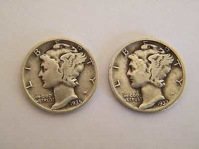 10 Mercury Dimes from the 1930s and 1940s
