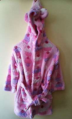 Baby Girl's Pink Hooded Bath Robe / Dressing Gown / Home Coat . Pitter Patter