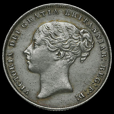 1853 Queen Victoria Young Head Silver Shilling, Scarce